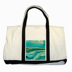 Mint,gold,marble,nature,stone,pattern,modern,chic,elegant,beautiful,trendy Two Tone Tote Bag