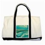 Mint,gold,marble,nature,stone,pattern,modern,chic,elegant,beautiful,trendy Two Tone Tote Bag Front