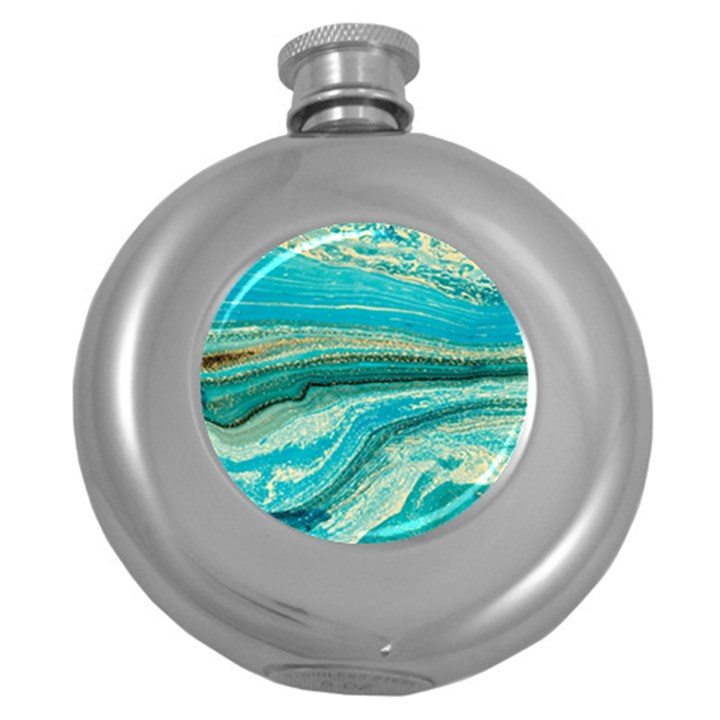 Mint,gold,marble,nature,stone,pattern,modern,chic,elegant,beautiful,trendy Round Hip Flask (5 oz)