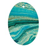 Mint,gold,marble,nature,stone,pattern,modern,chic,elegant,beautiful,trendy Oval Ornament (Two Sides) Back