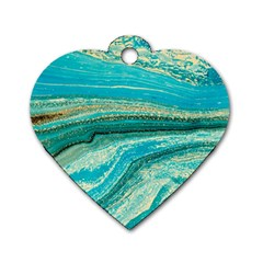 Mint,gold,marble,nature,stone,pattern,modern,chic,elegant,beautiful,trendy Dog Tag Heart (two Sides)