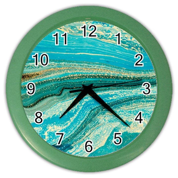 Mint,gold,marble,nature,stone,pattern,modern,chic,elegant,beautiful,trendy Color Wall Clocks