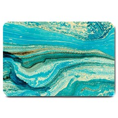 Mint,gold,marble,nature,stone,pattern,modern,chic,elegant,beautiful,trendy Large Doormat