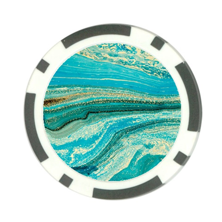 Mint,gold,marble,nature,stone,pattern,modern,chic,elegant,beautiful,trendy Poker Chip Card Guard