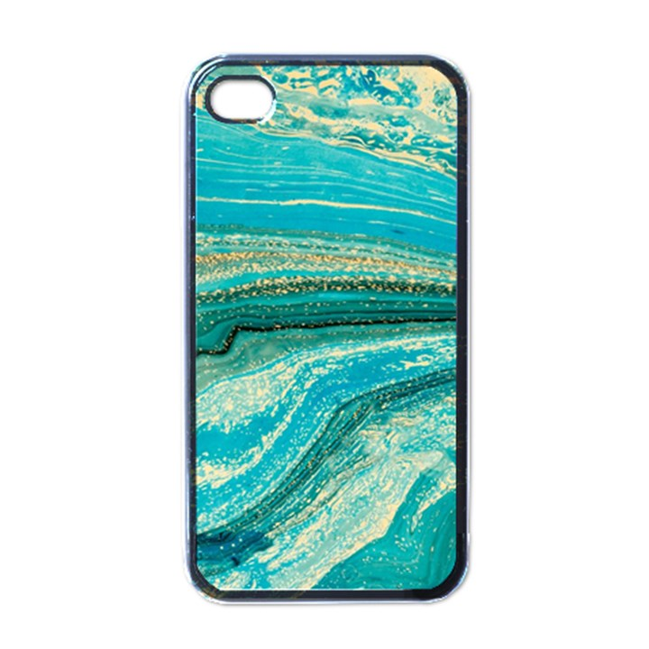 Mint,gold,marble,nature,stone,pattern,modern,chic,elegant,beautiful,trendy Apple iPhone 4 Case (Black)
