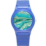 Mint,gold,marble,nature,stone,pattern,modern,chic,elegant,beautiful,trendy Round Plastic Sport Watch (S) Front