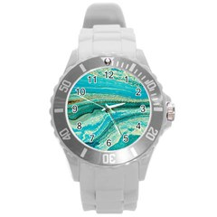 Mint,gold,marble,nature,stone,pattern,modern,chic,elegant,beautiful,trendy Round Plastic Sport Watch (l)