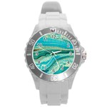 Mint,gold,marble,nature,stone,pattern,modern,chic,elegant,beautiful,trendy Round Plastic Sport Watch (L) Front