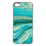Mint,gold,marble,nature,stone,pattern,modern,chic,elegant,beautiful,trendy Apple iPhone 5 Case (Silver) Front