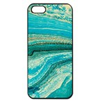 Mint,gold,marble,nature,stone,pattern,modern,chic,elegant,beautiful,trendy Apple iPhone 5 Seamless Case (Black) Front