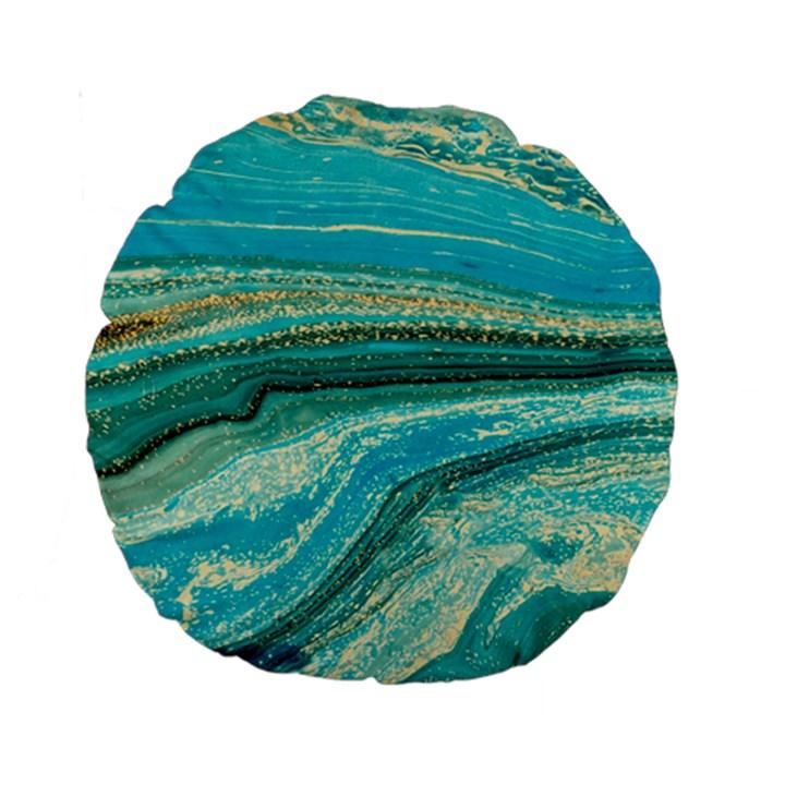 Mint,gold,marble,nature,stone,pattern,modern,chic,elegant,beautiful,trendy Standard 15  Premium Round Cushions