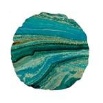 Mint,gold,marble,nature,stone,pattern,modern,chic,elegant,beautiful,trendy Standard 15  Premium Round Cushions Back
