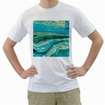 Mint,gold,marble,nature,stone,pattern,modern,chic,elegant,beautiful,trendy Men s T-Shirt (White)  Front