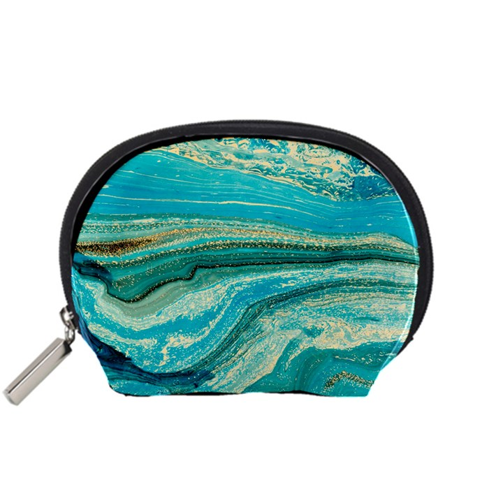 Mint,gold,marble,nature,stone,pattern,modern,chic,elegant,beautiful,trendy Accessory Pouches (Small)
