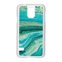 Mint,gold,marble,nature,stone,pattern,modern,chic,elegant,beautiful,trendy Samsung Galaxy S5 Case (white) by 8fugoso