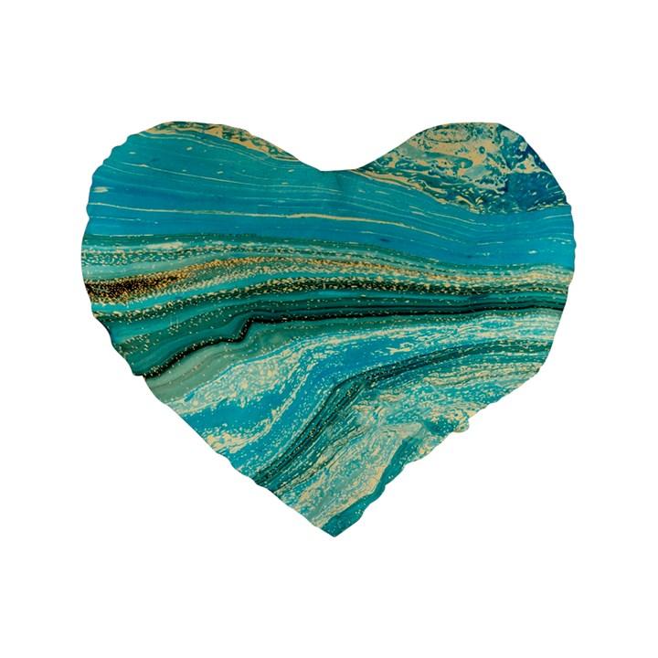 Mint,gold,marble,nature,stone,pattern,modern,chic,elegant,beautiful,trendy Standard 16  Premium Flano Heart Shape Cushions