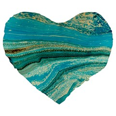 Mint,gold,marble,nature,stone,pattern,modern,chic,elegant,beautiful,trendy Large 19  Premium Flano Heart Shape Cushions