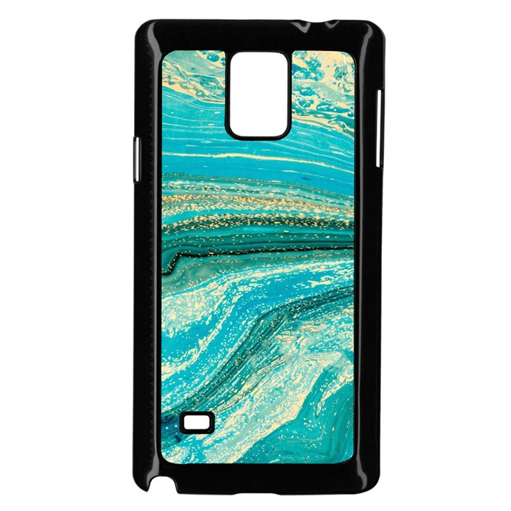Mint,gold,marble,nature,stone,pattern,modern,chic,elegant,beautiful,trendy Samsung Galaxy Note 4 Case (Black)