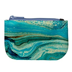 Mint,gold,marble,nature,stone,pattern,modern,chic,elegant,beautiful,trendy Large Coin Purse