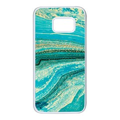 Mint,gold,marble,nature,stone,pattern,modern,chic,elegant,beautiful,trendy Samsung Galaxy S7 White Seamless Case by 8fugoso