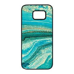 Mint,gold,marble,nature,stone,pattern,modern,chic,elegant,beautiful,trendy Samsung Galaxy S7 Edge Black Seamless Case