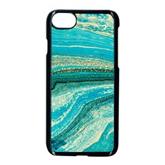 Mint,gold,marble,nature,stone,pattern,modern,chic,elegant,beautiful,trendy Apple Iphone 7 Seamless Case (black) by 8fugoso