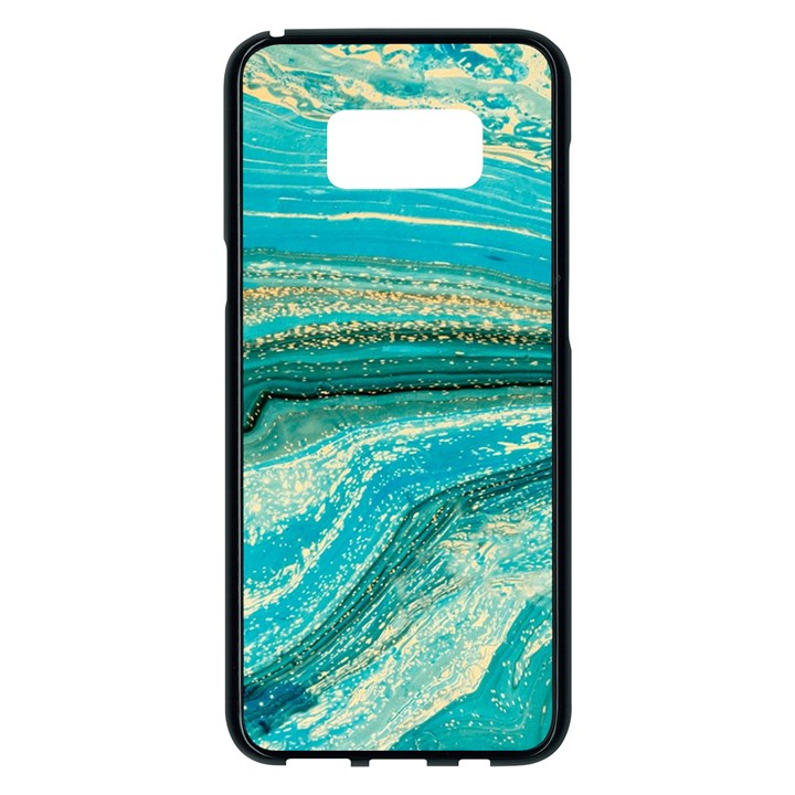 Mint,gold,marble,nature,stone,pattern,modern,chic,elegant,beautiful,trendy Samsung Galaxy S8 Plus Black Seamless Case