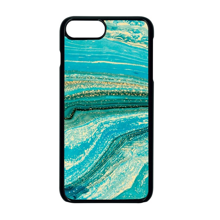 Mint,gold,marble,nature,stone,pattern,modern,chic,elegant,beautiful,trendy Apple iPhone 8 Plus Seamless Case (Black)