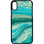 Mint,gold,marble,nature,stone,pattern,modern,chic,elegant,beautiful,trendy Apple iPhone X Seamless Case (Black) Front
