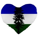 Flag of Cascadia Large 19  Premium Flano Heart Shape Cushions Back