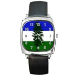 Flag of Cascadia Square Metal Watch Front