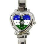 Flag of Cascadia Heart Italian Charm Watch Front