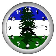 Flag Of Cascadia Wall Clocks (silver)  by abbeyz71