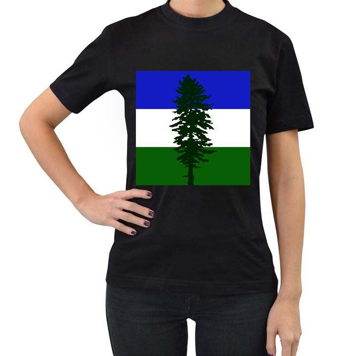 Flag of Cascadia Women s T-Shirt (Black) (Two Sided)