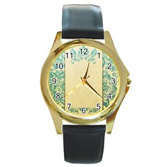 Art Nouveau Green Round Gold Metal Watch by 8fugoso