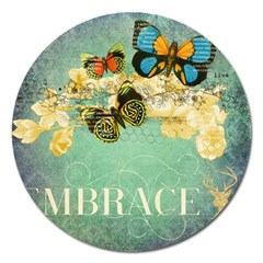 Embrace Shabby Chic Collage Magnet 5  (round) by 8fugoso