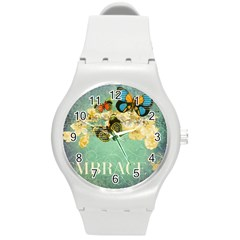 Embrace Shabby Chic Collage Round Plastic Sport Watch (m) by 8fugoso
