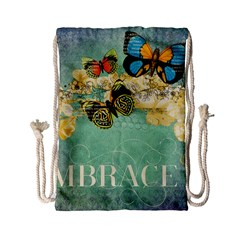 Embrace Shabby Chic Collage Drawstring Bag (small) by 8fugoso