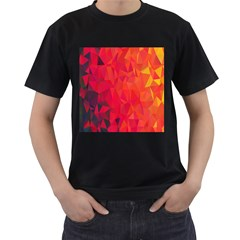 Triangle Geometric Mosaic Pattern Men s T Shirt (black) (two Sided)