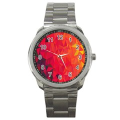 Triangle Geometric Mosaic Pattern Sport Metal Watch by Nexatart