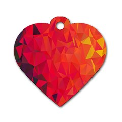 Triangle Geometric Mosaic Pattern Dog Tag Heart (one Side) by Nexatart