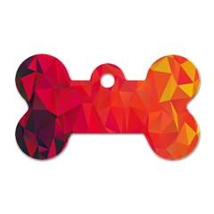 Triangle Geometric Mosaic Pattern Dog Tag Bone (two Sides)