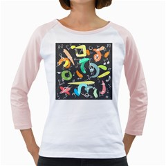 Repetition Seamless Child Sketch Girly Raglans