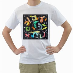 Repetition Seamless Child Sketch Men s T Shirt (white) (two Sided)