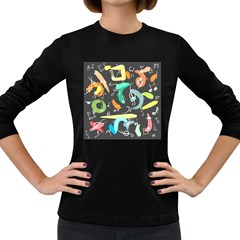 Repetition Seamless Child Sketch Women s Long Sleeve Dark T Shirts
