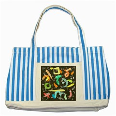 Repetition Seamless Child Sketch Striped Blue Tote Bag by Nexatart