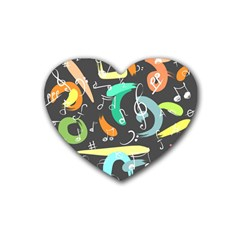 Repetition Seamless Child Sketch Rubber Coaster (heart)