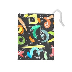 Repetition Seamless Child Sketch Drawstring Pouches (medium)
