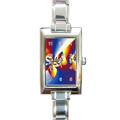 Mandelbrot Math Fractal Pattern Rectangle Italian Charm Watch