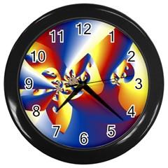 Mandelbrot Math Fractal Pattern Wall Clocks (black) by Nexatart